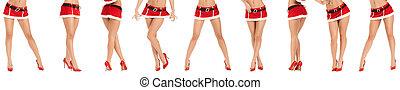 hermoso, piernas, de, mujer, llevando, santa claus, ropa