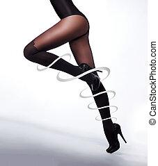 hermoso, piernas, pantyhose, agradable