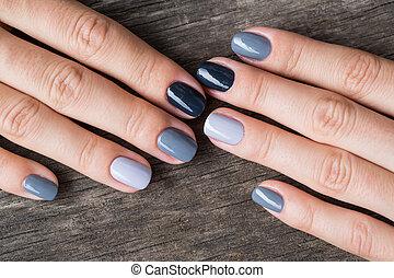 hermoso, pintado, manos, gray-colored, miniatura