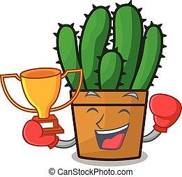 hermoso, planta, boxeo, ganador, spurge, cacto, caricatura