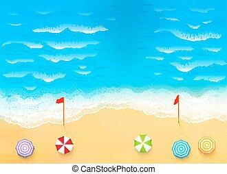 hermoso, playa, ilustración, corriente, rasgón, ondas