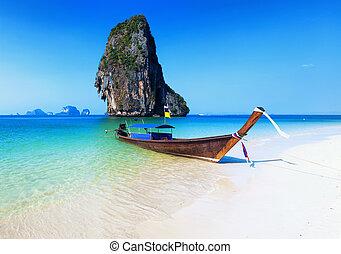 hermoso, playa,  tropical, barco, Tailandia, paisaje