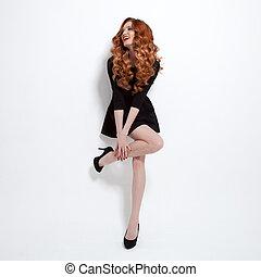 hermoso, poco, dress., mujer, negro, moda