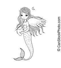 hermoso, poco, theme., mermaid., mar, siren.