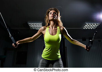 hermoso, poleas, músculos, tono, ella, gimnasio, utilizar,...