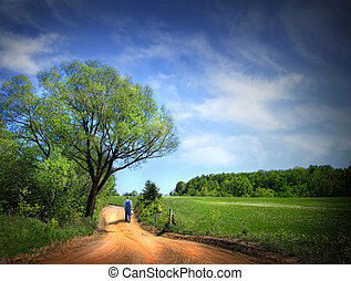 hermoso, polvoriento, día, camino, primavera