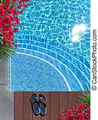 hermoso, poolside, escena, vacaciones