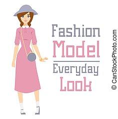 hermoso, posición, moda, mirada, niña, encima, modelo,...