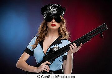 hermoso, posición, mujer policía, coloreado, policewoman.,...