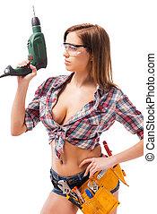 hermoso, posición, valor en cartera de mujer, contractor.,...