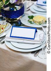 hermoso, Postal, boda, ajuste, invitación, tabla