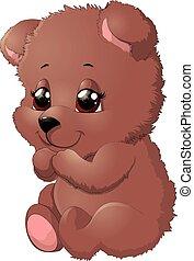 hermoso, postura, oso