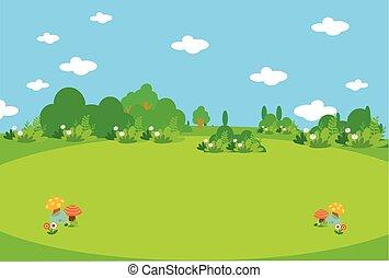 hermoso, pradera verde, con, mushroo