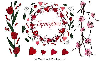 hermoso, primavera, conjunto, con, flores, y, corazones