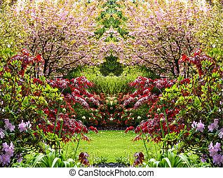 hermoso, primavera, jardín