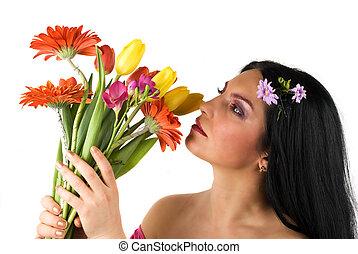 hermoso, primavera, mujer
