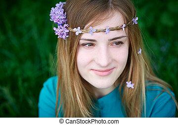 hermoso, primavera, mujer joven, en, un, parque
