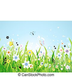 hermoso, primavera, pradera