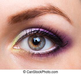 hermoso, primer plano, encantador, maquillaje, ojo