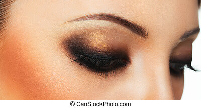 hermoso, Primer plano, Maquillaje, ojo