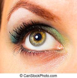 hermoso, primer plano, mujer, ojo