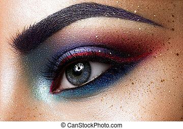 hermoso, primer plano, ojo,  womanish