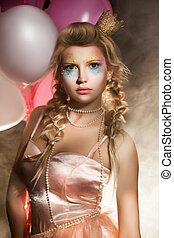 hermoso, princesa, con, aire, globos, en, smoke., cuento de hadas