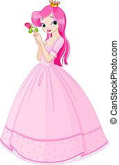 hermoso, princesa, con, rosa