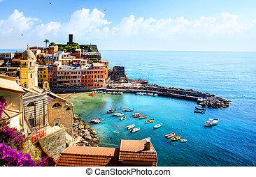 hermoso, pueblo, arte, italia, liguria, viejo, europe.