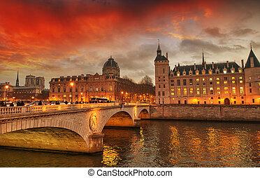 hermoso, puente, anochecer, jábega, -, paris., colores, río, napoleon