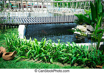 hermoso, puente, jardinería, jardín, clásico, de madera, pez, diseño, plano de fondo, ahorcadura, charca