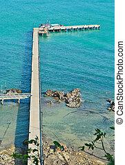 hermoso, Puente, Tailandia, mar, vistas
