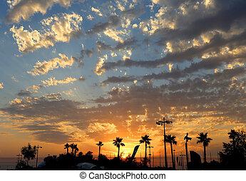 hermoso, puesta sol mar