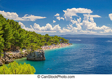 hermoso, punta, mar, verano, adriático, croacia, dalmatia,...
