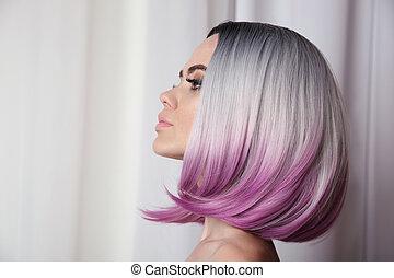 hermoso, puprle, haircut., cortocircuito, hairstyle., belleza, ombre, haircuts., makeup., pelo, fondo., salón, colorido, woman., rubio, moderno, modelo, brillante, mover