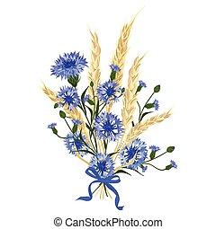 hermoso, ramo, cornflowers
