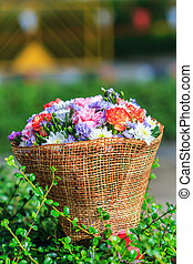 hermoso, ramo, flores