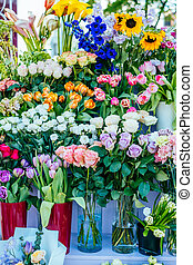 hermoso, ramos, en, mercado de flor