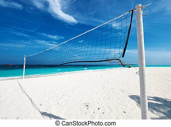 hermoso, red, vóleibol de playa