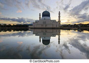hermoso, reflexión, de, mezquita