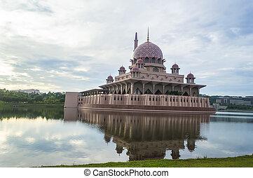 hermoso, reflexión, de, putra, mezquita