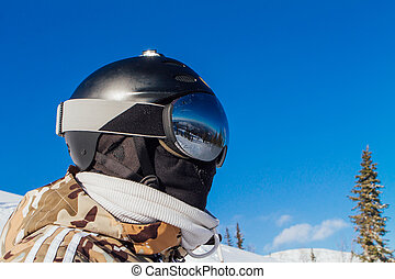 hermoso, reflexión, en, esquí, anteojos