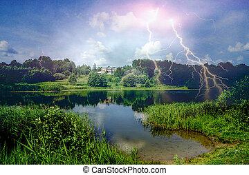 hermoso, relámpago, paisaje, naturaleza