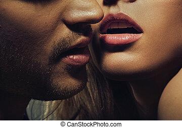 hermoso, retrato, de, joven, labios