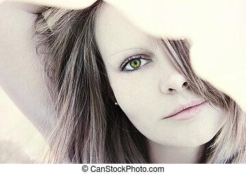 hermoso, retrato, mujer