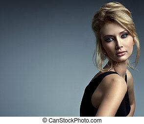 hermoso, retrato, mujer, delicado