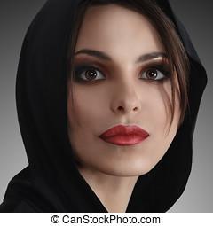 hermoso, retrato, mujer, joven,  Retro
