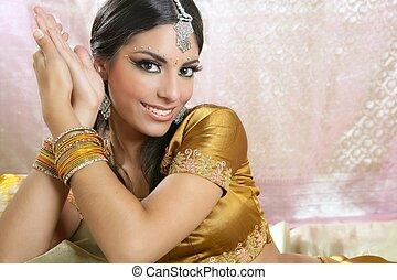 hermoso, retrato, mujer, morena, indio