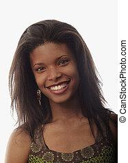 hermoso, retrato, mujer, negro, joven