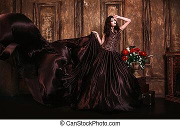 hermoso, retrato, mujer, retro